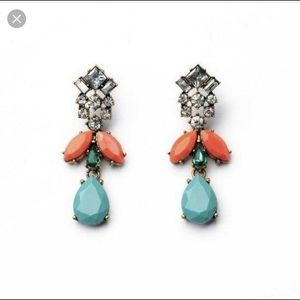 Jcrew turquoise, crystal, coral statement earrings